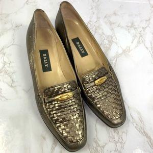 Bally Vanessa metallic loafers flats flex 7 1/2 N